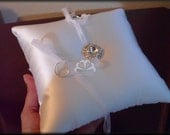 White Silky Satin Ring Pillow with Rhinestone Button