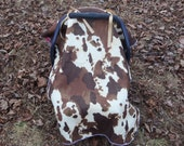 Brown Cow hide and bandana tent canopy car seat cover baby infant baby blanket graco evenflo girl Hounds tooth