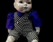 Beautiful Gothic REBORN Baby Doll Horror Art OOAK 14 inch handmade clothing and repaint
