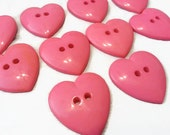 "8 Large Hot Pink Heart Buttons for Sewing and Crafts, size 1"" x 1-1/4"", 2 holes, bulk Valentine hearts with gift wrap"
