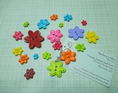 Set of 20 Plastic Bright colors, bold colored flower buttons or findings, floral buttons by MarlenesAttic