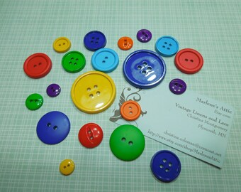 Set of 20 Round Primary Colors buttons or findings, hunting buttons, Valentines buttons by MarlenesAttic