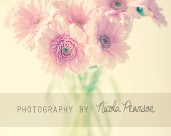 flower gerbera photo print - whimsical fine art nature photography, flowers, wall art, pretty, light, pink, pastels,