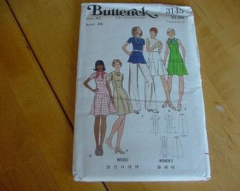 1970s Butterick Pattern 3145 Misses Dress, Tunic & Pants, Size 42, Bust 46, UNCUT