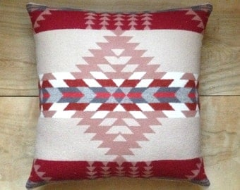Wool Pillow - Pink Rose Red Native Geometric Tribal Southwest Western Arrow Valentine