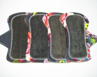 "6"" OBV or Minky and Flannel Shorty Reusable Pads - Set of 4 - Customize Your Flow Level, Fabrics and Backing"