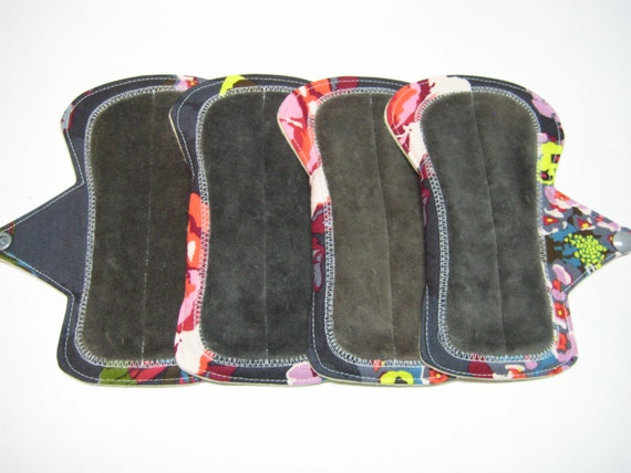 """6"""" OBV or Minky and Flannel Shorty Reusable Pads - Set of 4 - Customize Your Flow Level, Fabrics and Backing"""