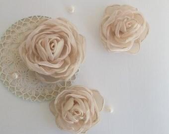 pince cheveux fleur tissu rose p le fleurs cheveux. Black Bedroom Furniture Sets. Home Design Ideas