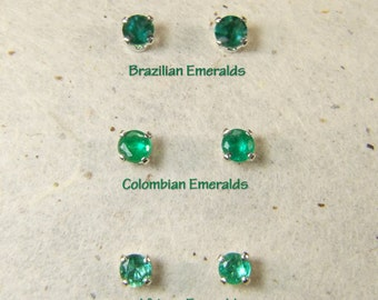 Emerald (3.0mm Transparent Genuine Emeralds), 0.15 Carat, Round Cut, Sterling Silver Post Earrings