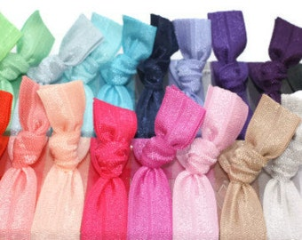 100 Elastic Hair Ties - FREE SHIPPING - Best Knotted HairTies Like Emi Jay - Girls Gift - Fabric Bracelets  - Wholesale Ponytails