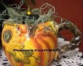 Pumpkin Mug Tea Light Candle Arrangement, Fall Pumpkin Light