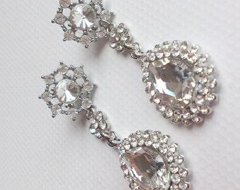 Flower Dangle Teardrop Earrings, Sterling Vintage Style Rhinestone Crystals Earrings, Bridal Earrings, Stud Earrings, Bridesmaids Earrings