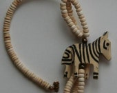 Vintage African native wood necklace and earrings set, carved wooden zebra, Kitsch jewelry,