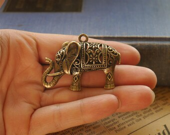 LARGE 3D Retro Antique Bronze Elephant Pendant 5cm (BC773)