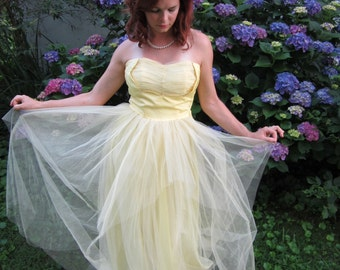 1950's Dress / Tulle Party Dress / Yellow Bridesmaid Dress / Marlie's Dress