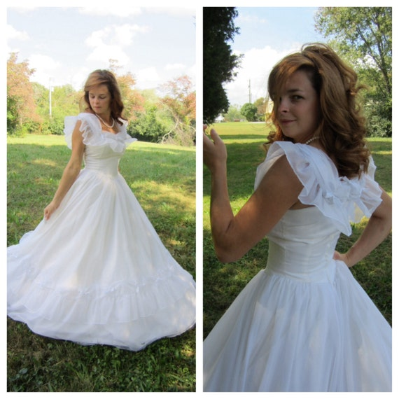 Vintage Wedding Dresses 80s: Vintage Wedding Dress 80's White Southern Belle Cupcake