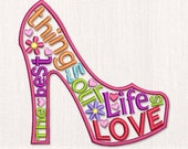Machine Embroidery Design High Heel Shoe The Words About Love  VA020