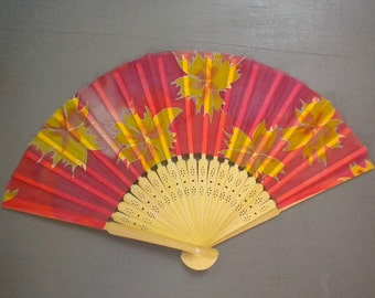 Hand fan -Silk Painted -Natural Wood -Red Yellow Fire flowers