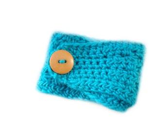 Turquoise Blue Headband, Crochet Star Stitch Headband, Button Earwarmer, Fall Fashion Headband, Peruvian Wool Headwrap, Teen Girl Headband