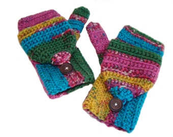 Colorful Mittens, Convertible Mittens, Fingerless Mittens, Parrot Glittens, Flip Top Mittens, Fingerless Gloves, Convertible Gloves