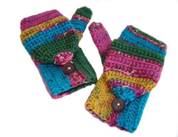 Tween Mittens, Convertible Gloves, Fingerless Mittens, Parrot Glittens, Flip Top Mitts, Multicolor Fingerless Gloves, Convertible Mittens