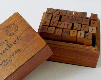 Vintage Style Wood Stamp Set Alphabet Lower case Letters