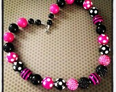 Hot Pink and Black Chunky Bead Necklace...Necklaces...Childrens Jewelry...Chunky Beads...Jewelry...Girls Necklaces
