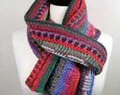 The Wanderer - Upcycled Merino Interweave Multi-Color Handmade Crochet Scarf, Super Warm, Unisex
