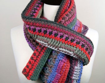 The Wanderer - Upcycled Merino Interweave Multi-Color Handmade Crochet Scarf, Super Warm, Unisex