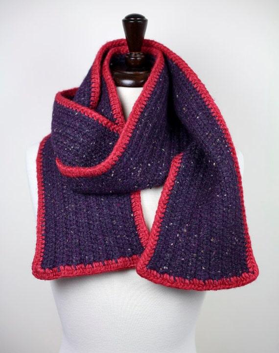 Snowed In - Purple Tweed Alpaca and Silk, Handmade Felted Crochet Scarf, Unisex