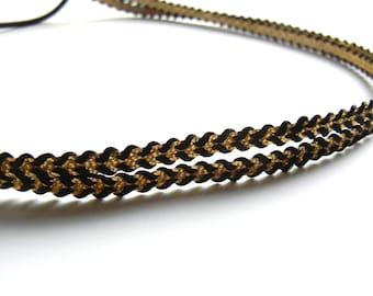 Gold and Black Herringbone Double Strand Headband