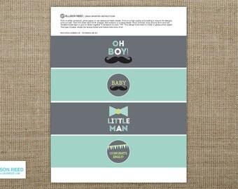 Little Man Party - Little Man Baby Shower - Mustache Baby Shower - Drink Wrap Designs - Mustache printable - Little man printable - Boy