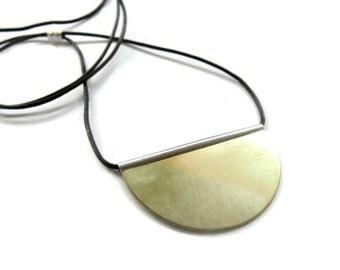 18K Gold Silver Pendant, Gold Disc Necklace, Large Gold Disc Pendant, Artisan Handmade  by Sheri Beryl