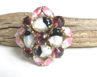 Beautiful Juliana Vintage Brooch, Pink & Deep Purple Givre Art Glass Rhinestone Brooch