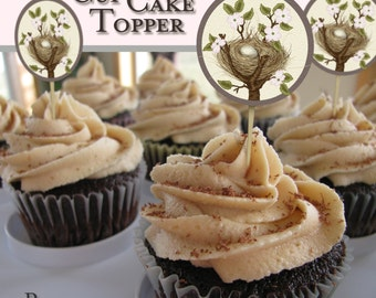 Bird nest and egg in dogwood tree printable cupcake toppers. Instant download.