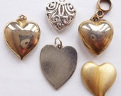 hearty heart heart destash--lot of 5 heart charms or findings