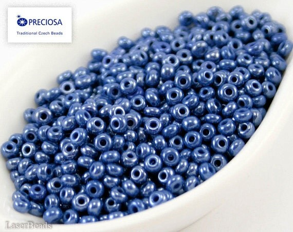 Size 8 seed beads 20g blue luster czech preciosa rocailles nr 238