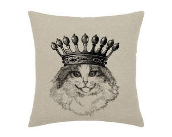 Cat Queen Crown Cat Kitty Pet Animal Art Print - print on natural 100% linen canvas - 16x16 decorative pillow cover