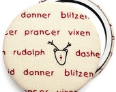 Compact mirror/ pocket mirror/ handbag mirror, Christmas reindeer fabric compact mirror, great for stocking fillers & party bag gifts