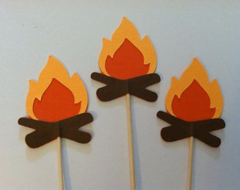 12 Campfire  cupcake toppers-appetizer picks