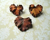 Woodland Jewelry - Real Leaf Brooch/Pin - Set of Three Real Leaves Dipped in Copper - Fall Trends - Woodland Brooch - Steampunk Jewelry