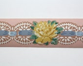 Vintage Wallpaper Border - TRIMZ - Yellow Rose on Pink with Ribbon and Lace