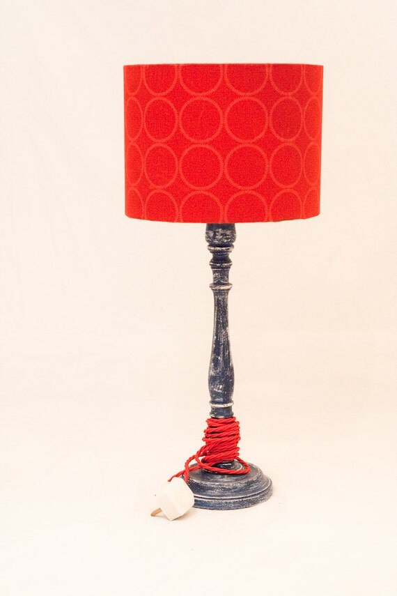 ON SALE Distressed Blue Lamp Base  SALE, BoHo, Cottage Chic Blue and Red Lamp