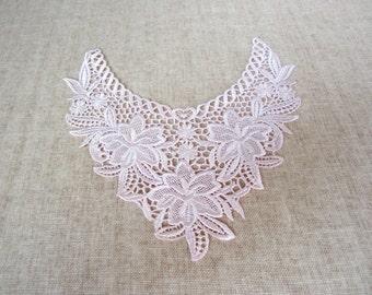 Light Pink Lace Yoke Applique, 1 piece