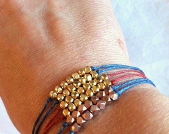"Gold Vermeil ""Perfection"" Karen Hill Tribe Beaded Irish Linen Bracelet"