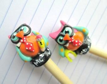Geeky Owl Knitting needles-- HANDMADE polymer on premium bamboo--  sizes 0 thru 15