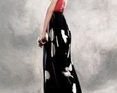 Black silk with white flowers Japanese style long skirt
