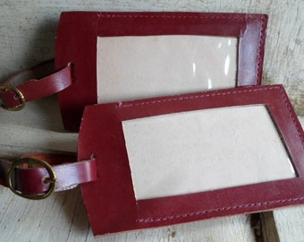 Leather Luggage Tags, Large, NOS, 2 Tags, Burgundy, Brass Buckle Straps, Authentic Vintage, 1960s, Maroon, Mad Men, Ladies, All Vintage Man