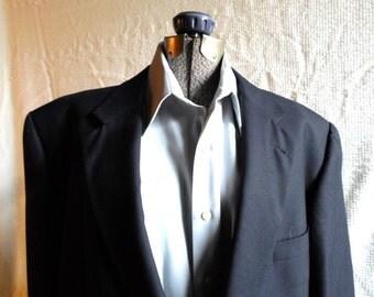 Men's Blazer, Navy Blue Blazer, Burberry, London, Sports Coat, Vintage Sportcoat, Men's Coat, Brass Buttons, Excellent, FREE US SHIPPING