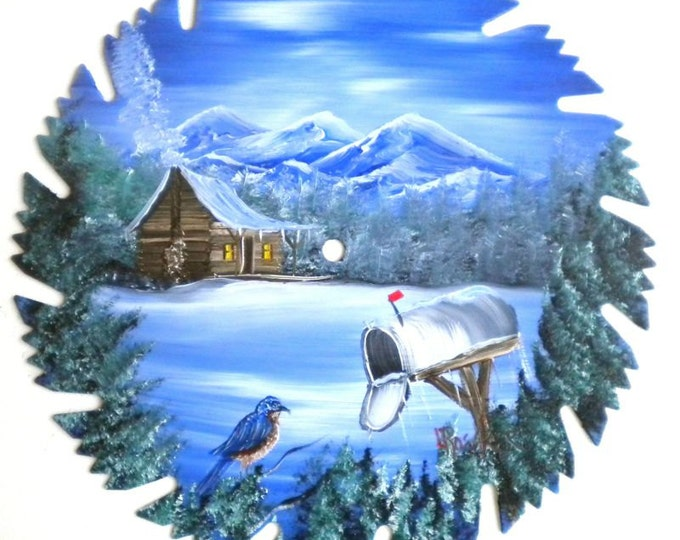 Hand Painted Saw Blade Mountain Winter Cabin Blue Bird and Mailbox (Will Personalize) SALE